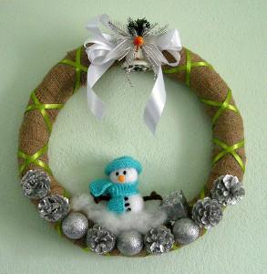 Decorative Snowman Burlap Wreath Allfreechristmascrafts Com