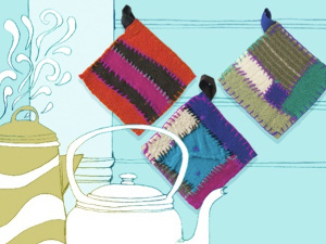 Rustic Upcycled Sweater Pot Holders
