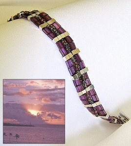 Hawaii Sunset Tila Bead Bracelet