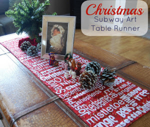 Christmas Subway Art Table Runner