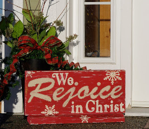Rustic Painted Wooden Christmas Sign