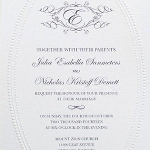 Monogram Wedding Invitation Printable