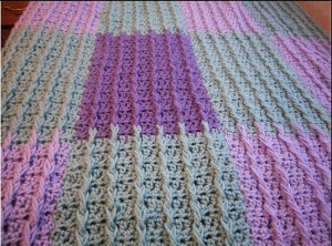 Lilac  Sage Raised Rib Crochet Blanket