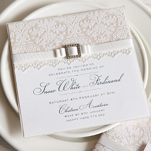 Elegant White Lace Invitations