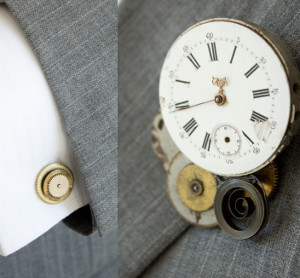 Steampunk Wedding Boutonniere and Cufflinks