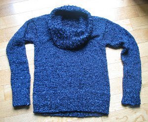 Chunky Cobalt Cowl Sweater