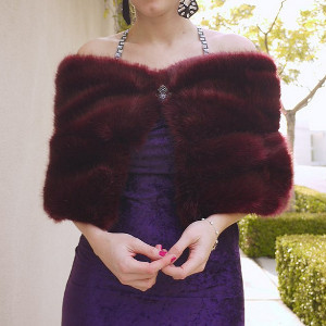 Burgundy Faux Fur Caplet