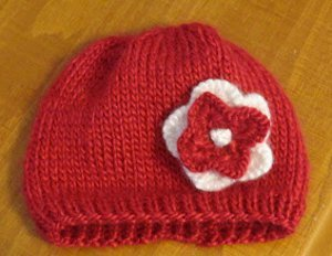 Stockinette Flower Baby Beanie