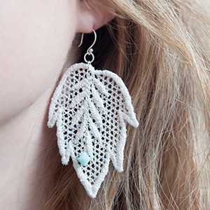 Delicate Lace Leaf Earrings