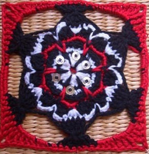 Native American Fish Themed Granny Square