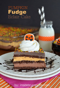 Layered Pumpkin Fudge Eclair Cake