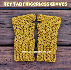 Mustard Key Tab Fingerless Gloves