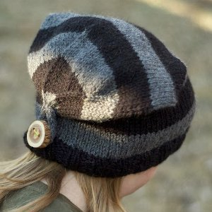 Knitting Pattern Hat With Button : Button Back Hat AllFreeKnitting.com