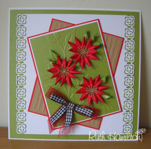 Green Pearlized Poinsettia Card