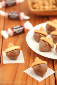 Super Easy No Bake Tootsie Roll Acorns