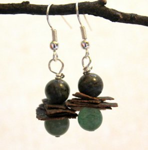 Bark and Bead Earrings