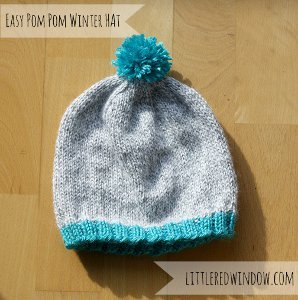 Easy Winter Pom Pom Hat AllFreeKnitting.com