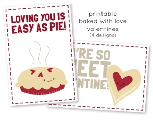 Baked with Love Printable Valentines