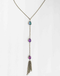 3-Gem Tassel Necklace