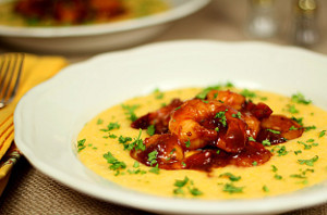 Barbeque Shrimp with Cheese Grits