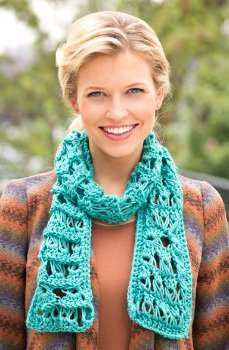 Turquoise Broomstick Scarf