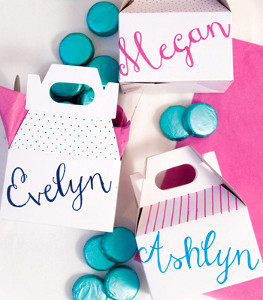 Aqua and Pink Personalized Favor Boxes