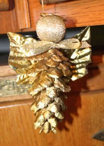 Golden Pine Cone Angel Ornament Allfreechristmascrafts Com