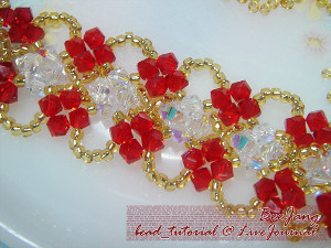 Red and Gold Crystal Weave Bracelet