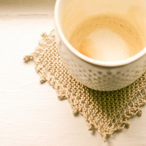 Lace Edged Linen Coasters