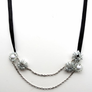 Sparkling Silver Flowers Necklace