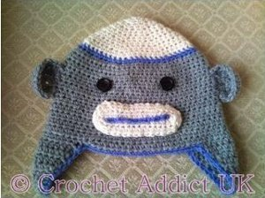 Happy Sock Monkey Baby Beanie