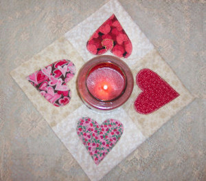 Country Heart Applique Quilted Candle Mat
