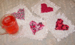 Raggedy Quilted Heart Coasters