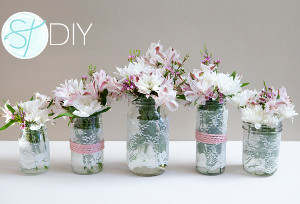 Delicate Lace-Wrapped Mason Jars