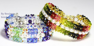 Burst of Color Crystal and Pearl Bracelet