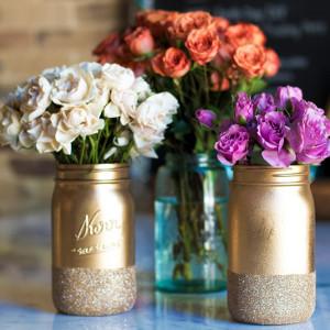 Glitter Dipped Mason Jar Crafts