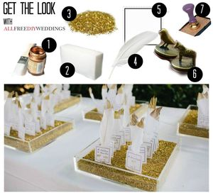 Gold-Tipped Feather Escort Cards