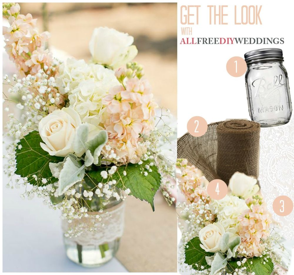 Mason Jar Ideas For Weddings: Lace And Burlap Mason Jar Centerpieces