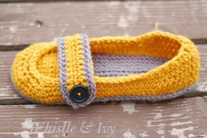 Button Strap Crochet Slippers