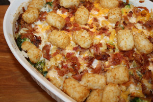 Broccoli Mac and Cheese with Tater Tots and Bacon