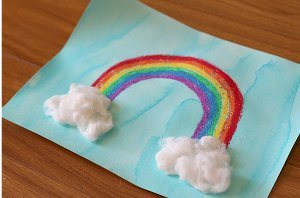 Pretty Painted Rainbows with Fluffy Clouds
