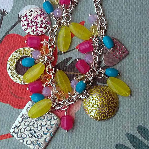 Colorful Eye Candy Metal Stamped Necklace