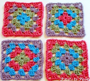 Crochet Easy Granny Square Patterns : Pretty Simple Granny Square AllFreeCrochetAfghanPatterns.com