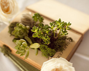 Vintage Wedding Book Planter