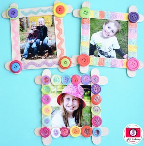 craft ideas for picture frames mosaic button frame allfreekidscrafts 6221
