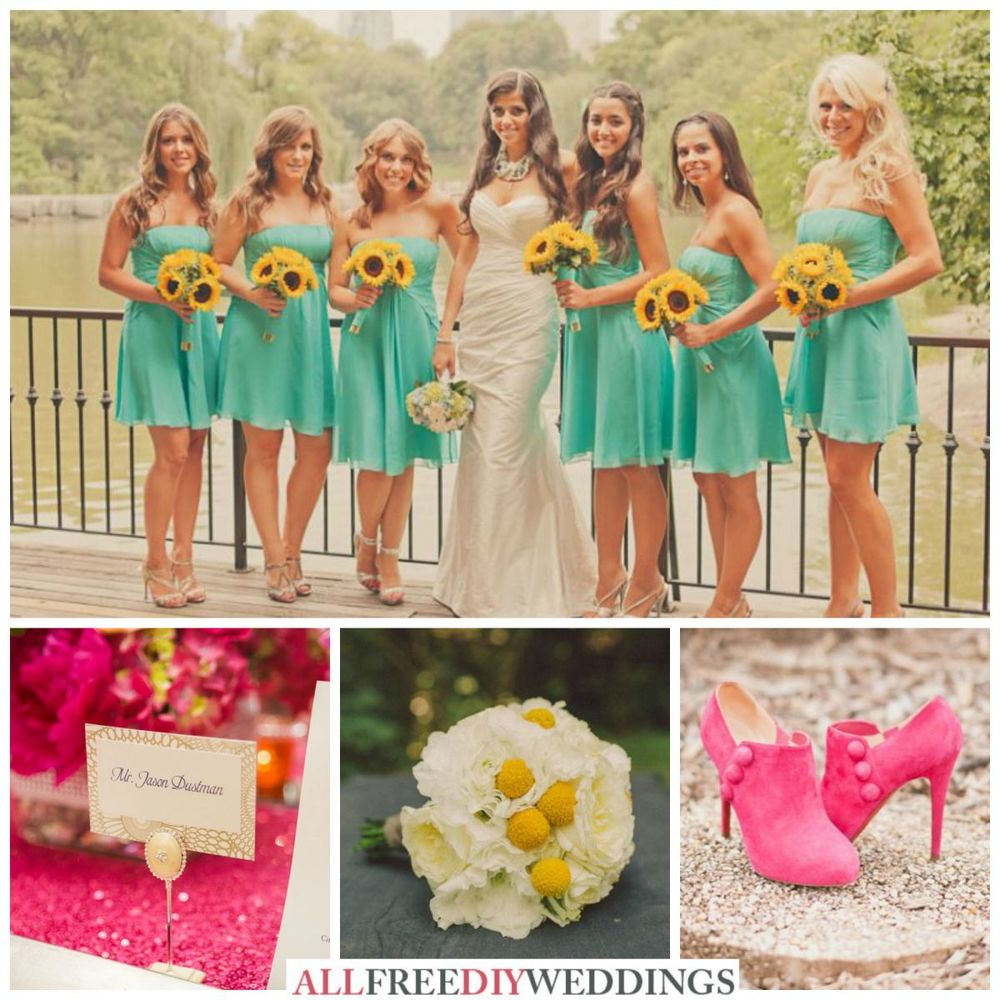 Wedding Color Schemes Aqua Yellow And Hot Pink