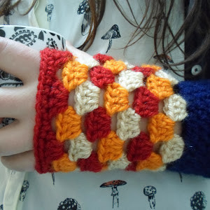 Granny Square Crochet Fingerless Gloves