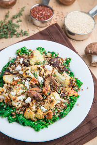 Roasted Cauliflower and Mushroom Quinoa Salad