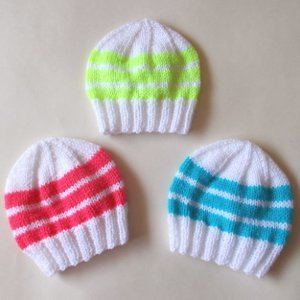 3 Simple Striped Baby Hats Allfreeknitting Com
