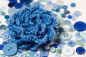 Blue Bell Crocheted Ruffle Rose